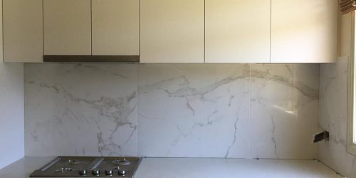 800×800 stone feature tiles, kitchen splashback.