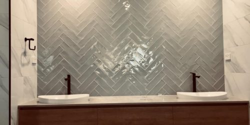 300×600 wall tiles and 75×300 feature tiles wave edges
